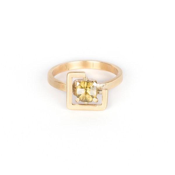 Earth ring greenish yellow zircon set in brushed yellow gold