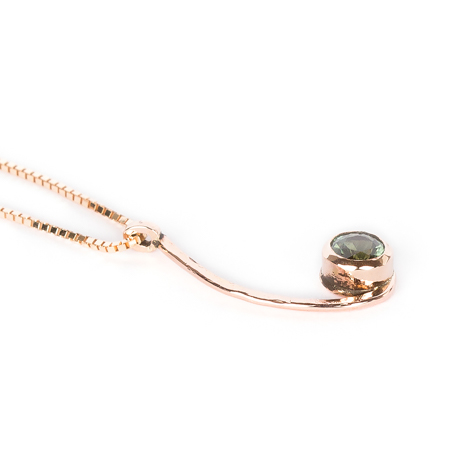 Green sapphire pendant set in rose gold right view