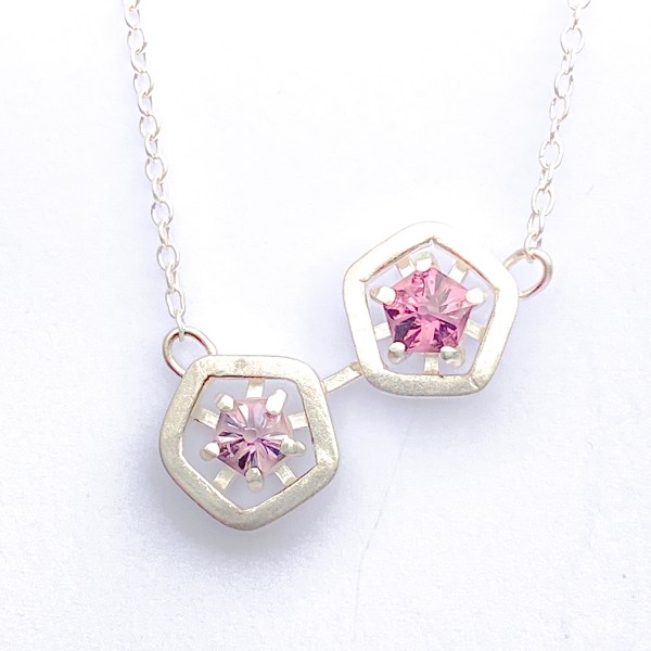 Hope double pendant - lilac and pink