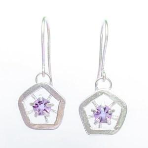 Hope drop earrings - dark lilac (small)
