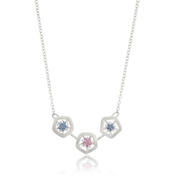 Hope triple pendant - blue, pink and lilac with chain