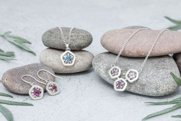 Hope triple pendant - all the pinks in group styled shot