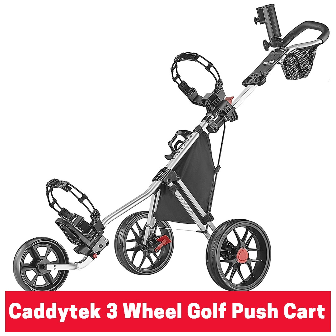 Caddytek 3 Wheel Golf Push Cart - Lightweight