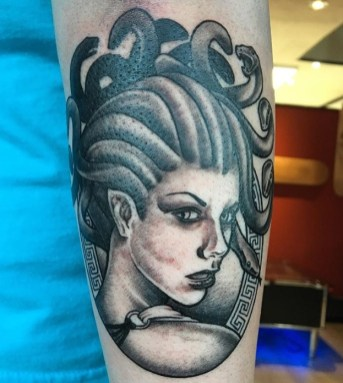 medusa black and grey tattoo