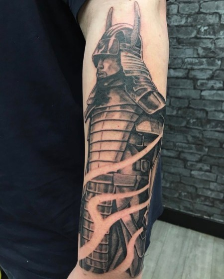 black and grey samurai tattoo