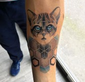 Geometric Dotwork Cat piece