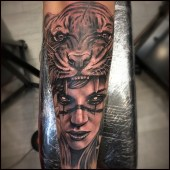 Black grey tattoo tiger lady