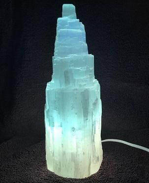Selenite Skyscraper Lamp Blue Turned on web20