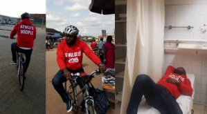 Man Who Rode Bicycle From Owerri To Abuja For Atiku Rushed To The Hospital