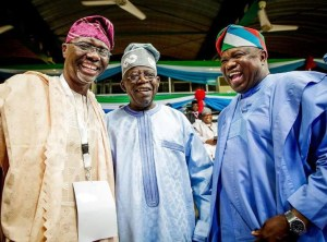 Tinubu, Governor Ambode And Sanwo-Olu ALL SMILES As They Meet At The APC Convention