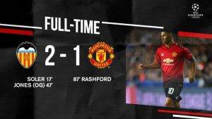 Video: Valencia 2 vs 1 Manchester United (Champions League) Highlights & Goals