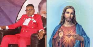 Bishop Obinim Destroys Jesus Image In His Church (Video)