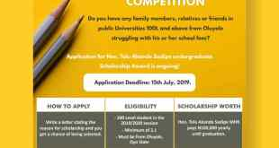 Tolu Akande Sadipe Scholarship Essay Competition... Apply Now