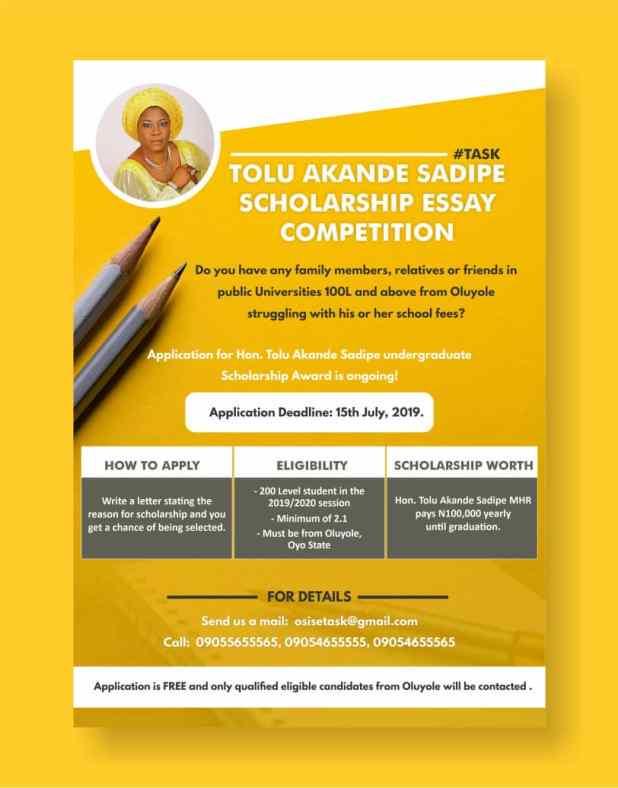 Tolu Akande Sadipe Scholarship Essay Competition... Apply Now