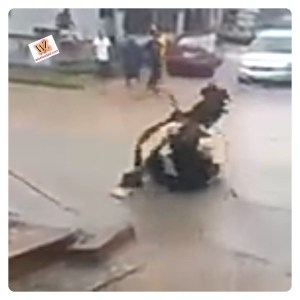 Two Masquerades Caught Fighting On The Busy Road