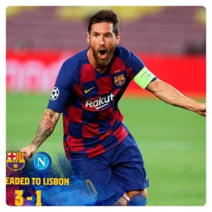 Lionel Messi celebrating his goal UCL matches between Barcelona vs Napoli
