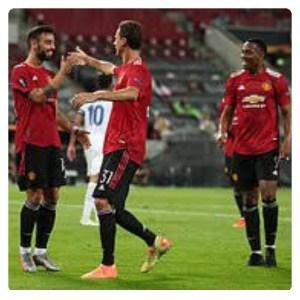Man Utd players celebrating their win in Manchester United vs Copenhagen