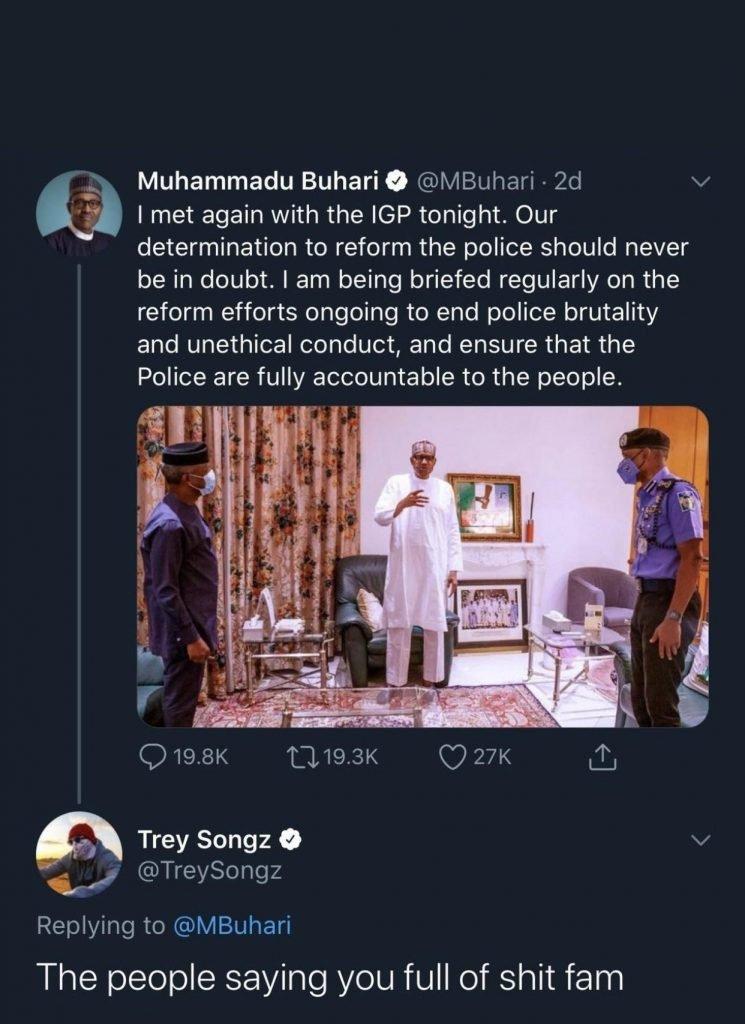 Trey Songz Blast Buhari