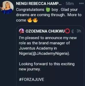 Nengi congratulated Ozo