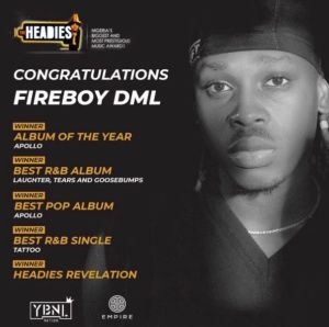 Fireboy DML Headies 2021 awards