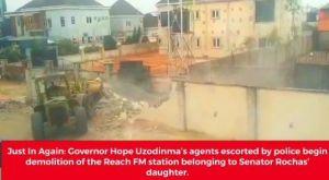 Imo Govt Demolish Part Of Reach FM Belongs To Rochas Okorocha's Daughter (Video)