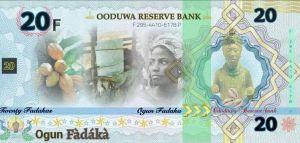 Oduduwa Currency 20 fadaka note