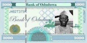 Oduduwa Currency 1000 fadaka note