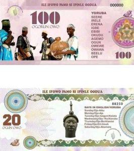 Oduduwa Currency 100 and 20 fadaka notes