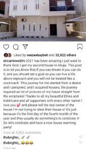 Erica abuja house full caption