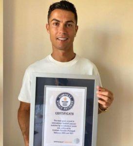 Cristiano Ronaldo Receives Guinness World Records Certificate