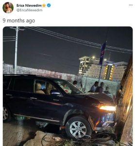 Bbnaija housemate, Erica car accident scene