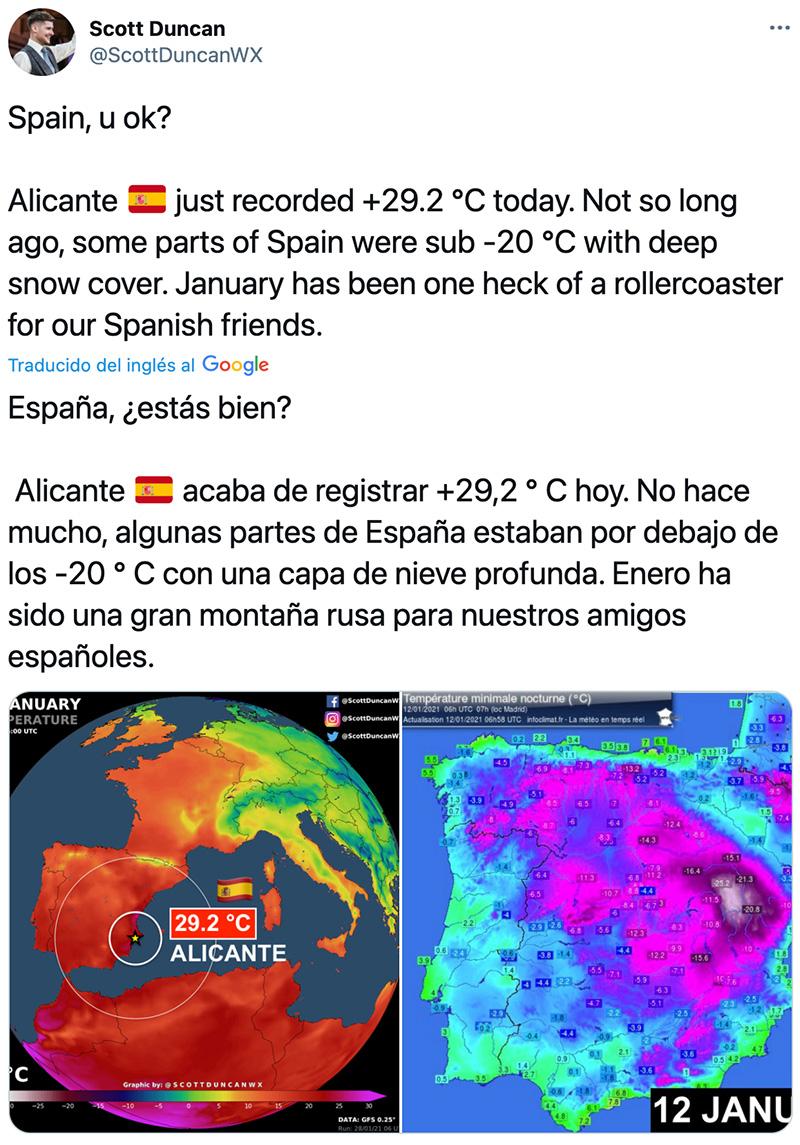 En Alicante llevamos unos días de semiverano en pleno invierno y en el extranjero parecen preocupados.