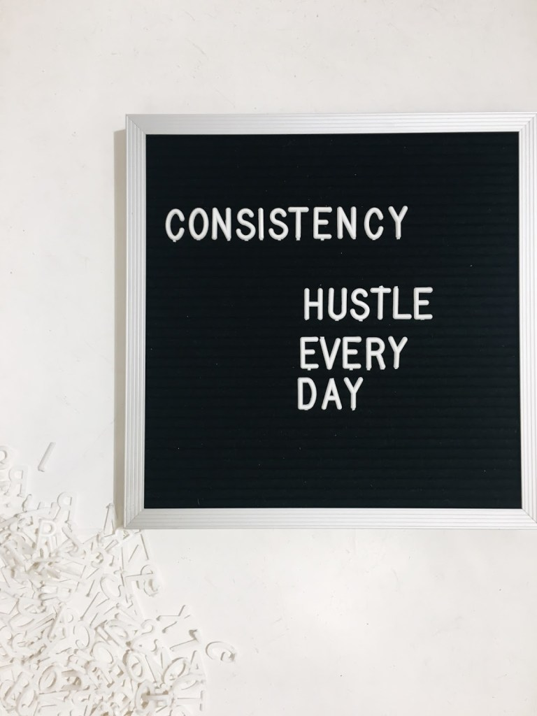 find your focus hustle consistency letter board