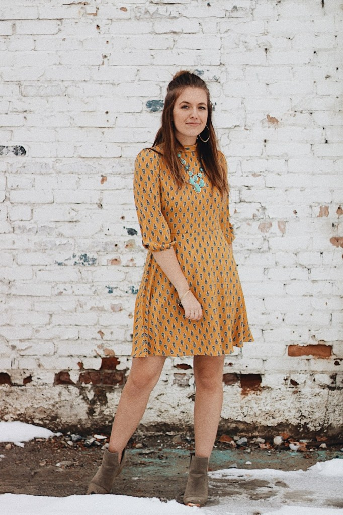 pretty mustard modest dress