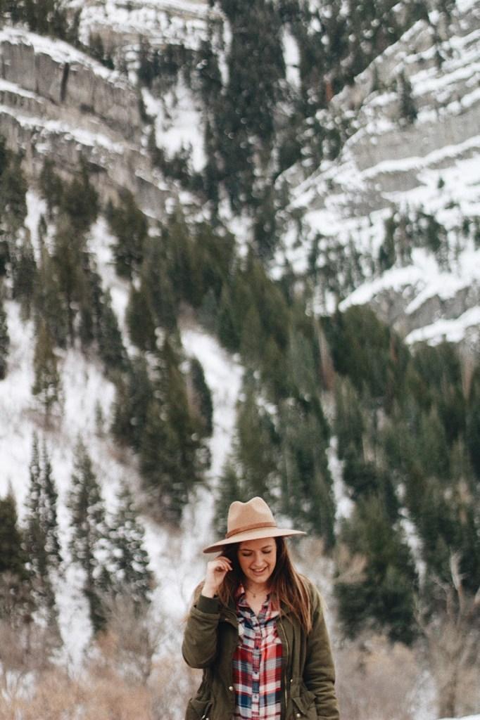 boho winter plaid look