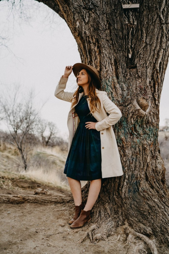 winter funk vintage dress tree portrait