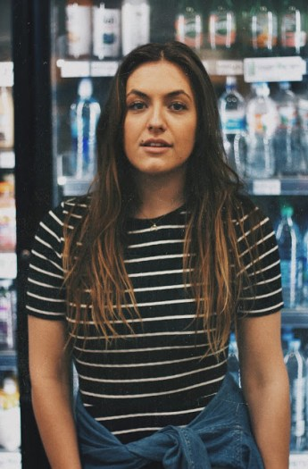 healthy gas station moody portrait striped dress girl boho