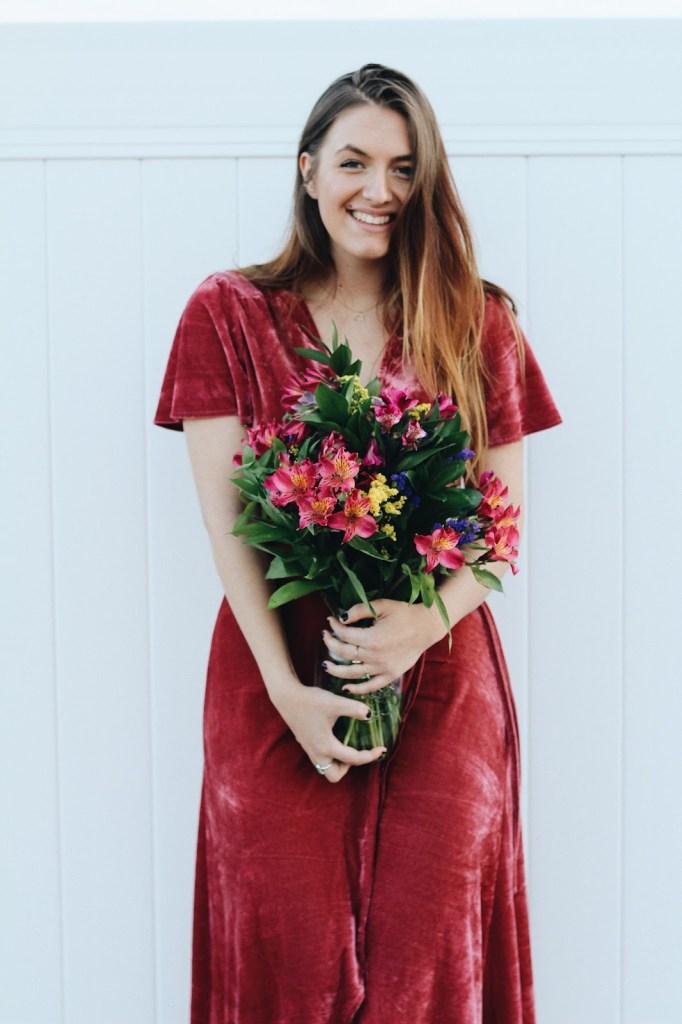 wear for valentine's day dusty rose wrap dress