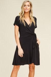 flattering dress style black-wrap-side-tie-midi-dress
