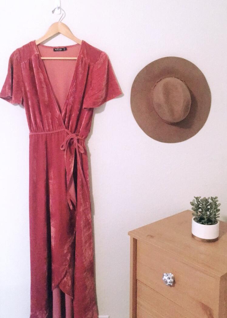 flattering dress style pink-velvet-wrap-dress-nasty-gal