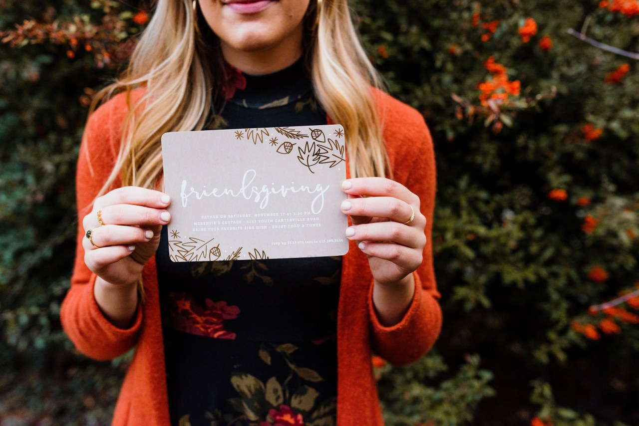 friendsgiving gathering with intention thanksgiving dinner party invitations