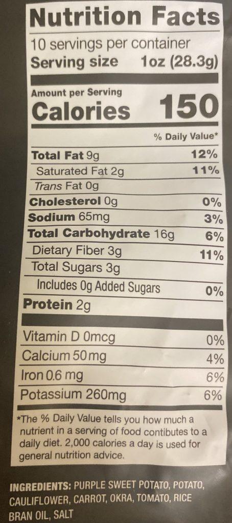 Nutrition Information for Sonoma Vegetable Crisps