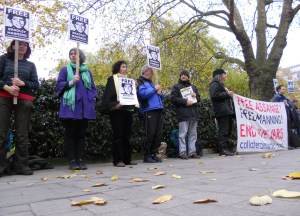 Bradley Manning supporters stand in front of the US embassy in London