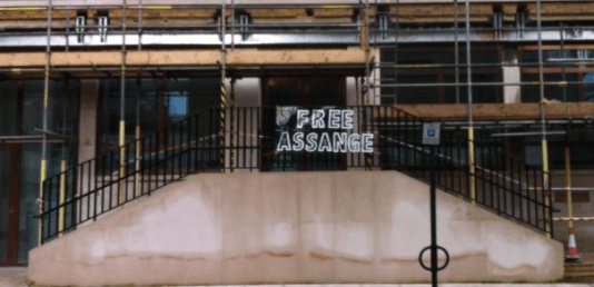 The Swedish Embassy in London - British scaffolding propping up the facade, Very fitting! #FreeAssange!