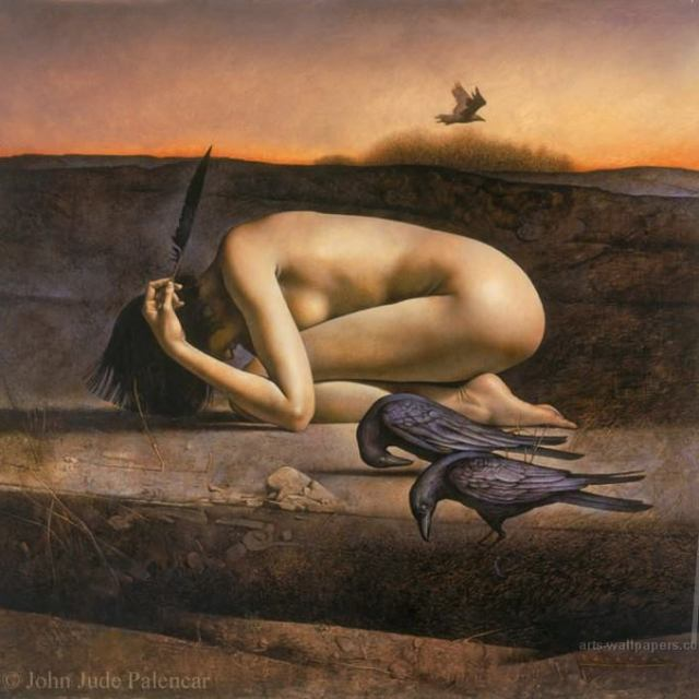 naked woman bowed down, kneeling with her hands on her head in a barren landscape, two ravens in front of her