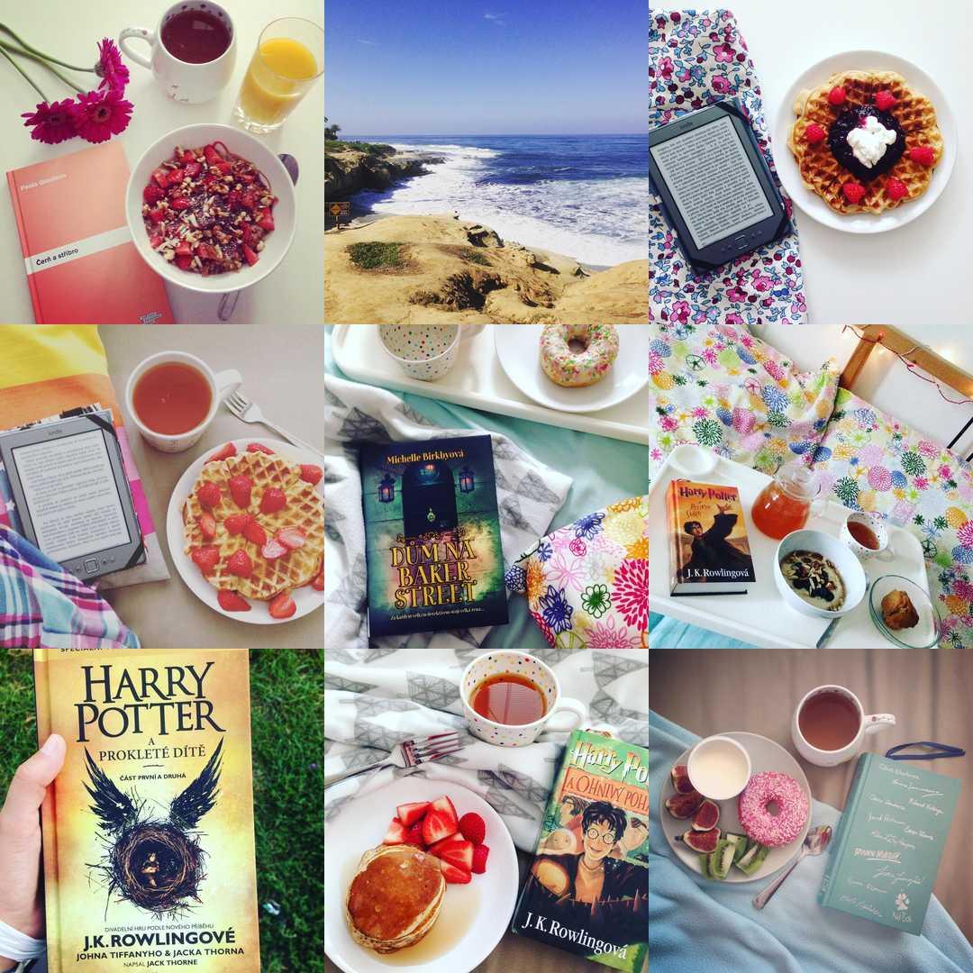 instagram, knihy, snidane
