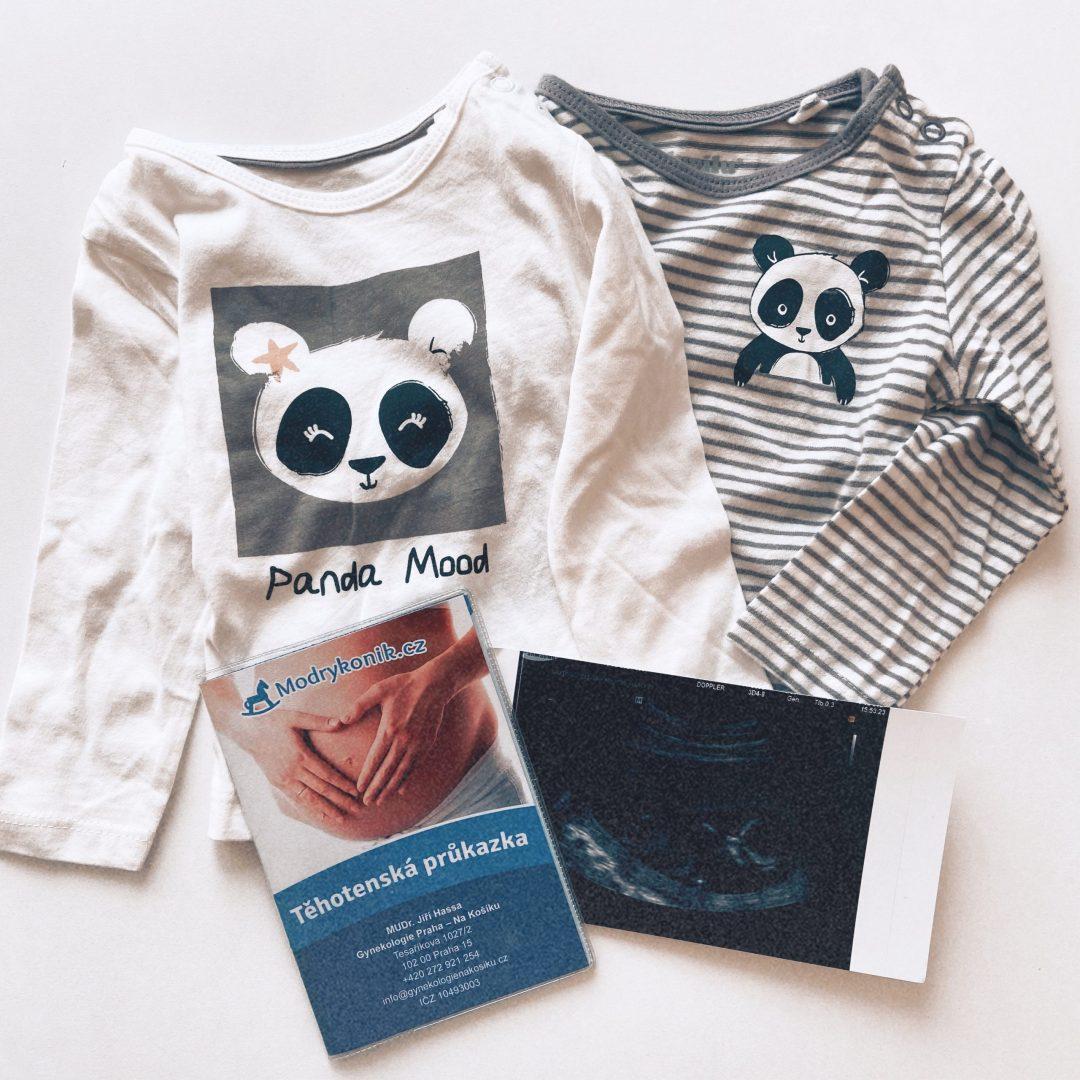 ultrazvuk, těhotenská průkazka a trička