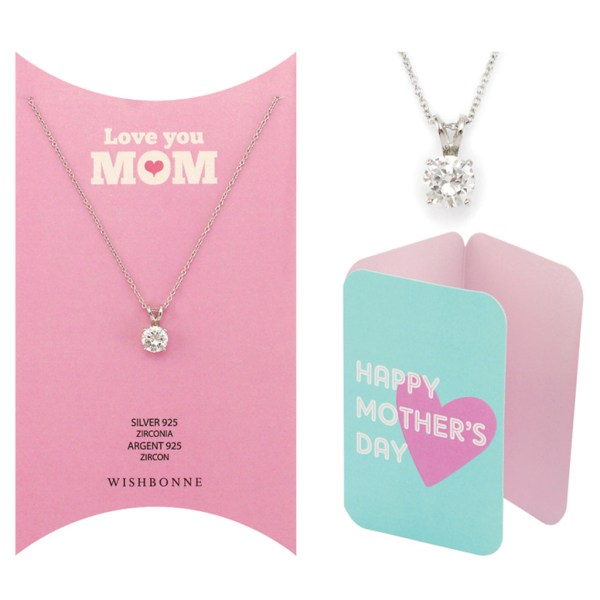 Mom Solitaire Pendant Necklace