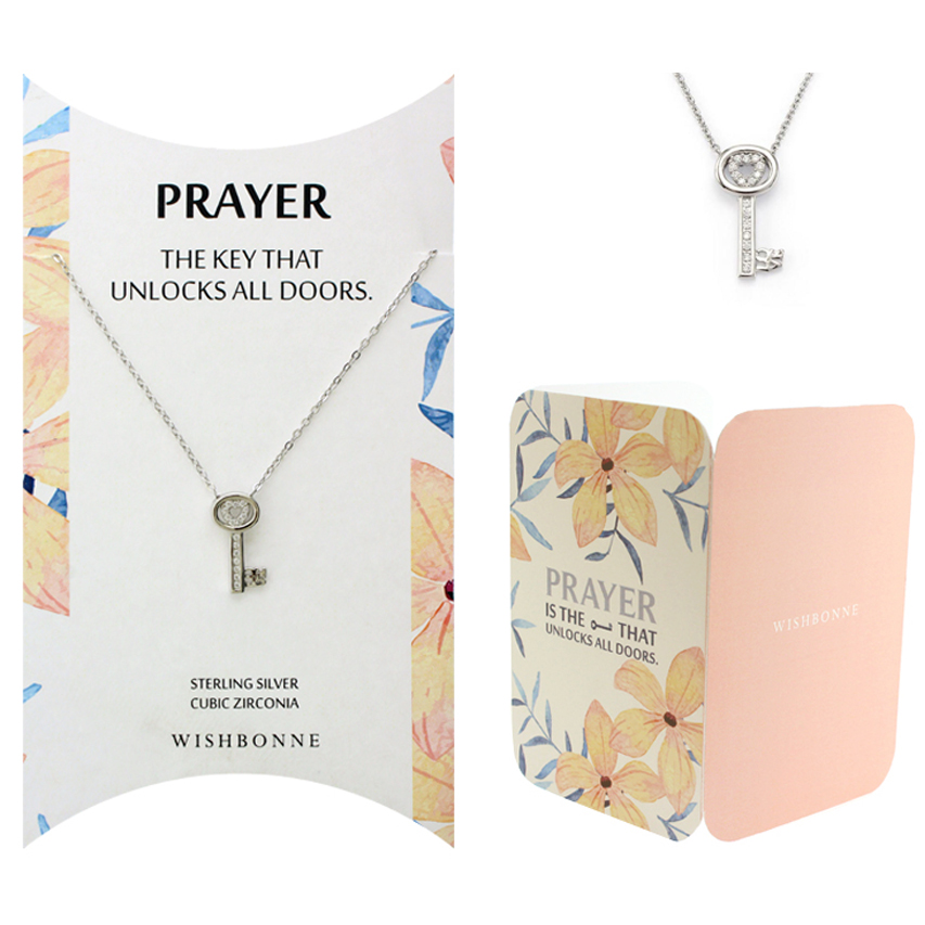 Biblical Prayer Key Pendant Necklace