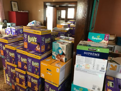 Diapers overflowing a room in Joannah Lynch's home during the 2017 CLE Diaper Drive.